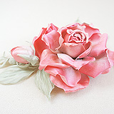 """""""Шелковая роза"""" веточка с бутоном, розовая"""