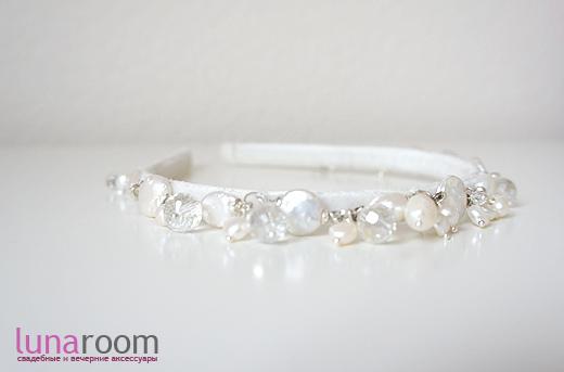 Вместо диадемы - аксессуар для свадебной прически с жемчугом и полудрагоценными камнями!