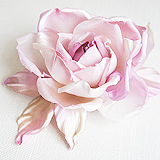 "Роза ""Бэлла"" брошь-заколка, шелк, лиловый"