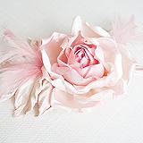 """Роза """"Бэлла"""" брошь-заколка, шелк, розовый"""