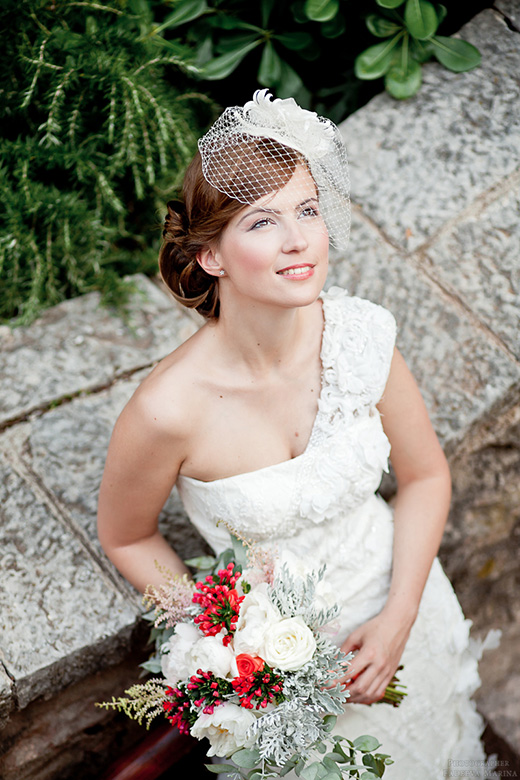 Наши невесты - Мария! Свадебная прическа с вуалеткой.