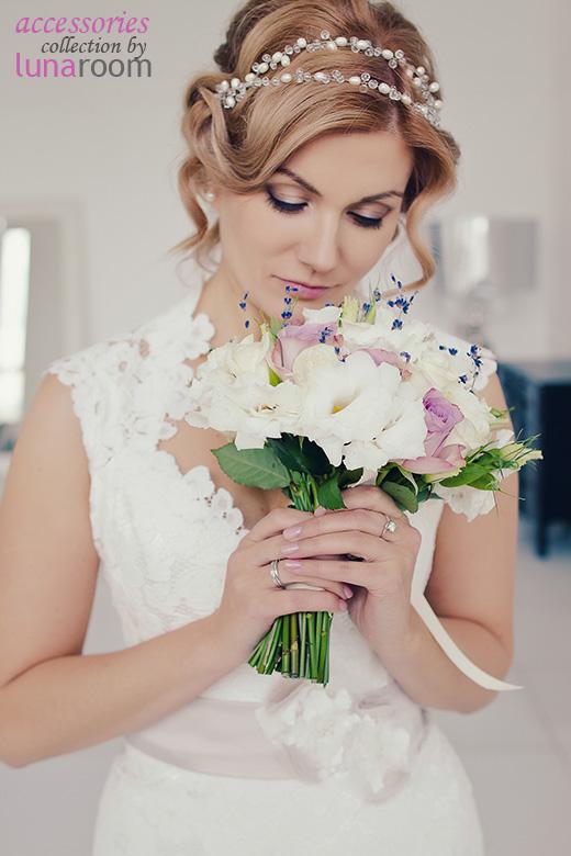 Наши невесты - Наталья! Свадебная прическа с украшением из жемчуга.