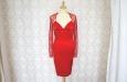 Красное короткое платье из натурального шелка с накидкой из гипюра. Фото 2.