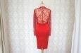 Красное короткое платье из натурального шелка с накидкой из гипюра. Фото 3.
