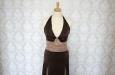 Длинное платье из натурального шелка коричневое . Фото 2.