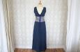 Длинное синее платья из натурального шелка с пиджаком. Фото 1.