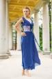 Длинное синее платья из натурального шелка с пиджаком. Фото 4.