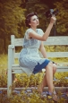 Синее двухслойное платье из натурального шелка. Фото 4.