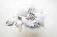 """""""Роза"""" брошь с мехом белой норки. Фото 3."""
