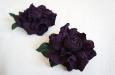 """""""Роза мини"""" клипсы для туфель, замша фиолетовая. Фото 2."""
