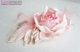 "Роза ""Бэлла"" брошь-заколка, шелк, розовый. Фото 2."