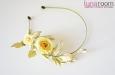 Ободок для волос с лимонными розами, шелк. Фото 1.