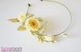 Ободок для волос с лимонными розами, шелк. Фото 4.