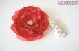 Роза из натурального шелка красная. Фото 3.