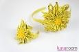 """""""Солнечная хризантема"""" ободок для волос, кожа. Фото 4."""