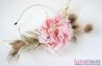"Роза ""Жози"" с пером павлина, шляпка, ободок . Фото 3."