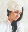 """Rose"" шляпка с цветами из шелка айвори. Фото 4."